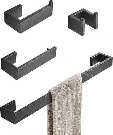 Towel-Bar-Set-4-Piece-Bathroom-Hardware-Accessory-Matte-Black-SUS304-Stainless-Steel-Bath-Hardware-Set-Includes-Towel-Holder-Dou
