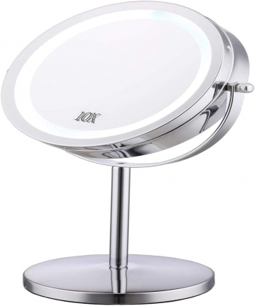 Lighted-Makeup-Mirror-7-LED-Vanity-Mirror-10X-Magnifying-Double-Sided-Swivel-Cosmetic-Mirror-Chrome-Finish-B07VC98XPT