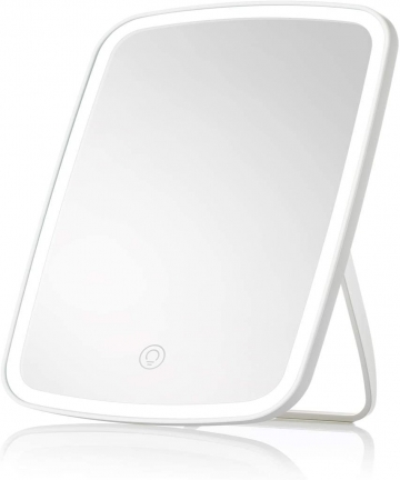 Makeup-Mirror-with-Light-Lighted-Vanity-Mirror-with-Touch-Screen-USB-Rechargeable-tabletop-Makeup-mirror-LED-Brightness-Adjustab