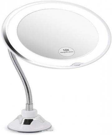 360-Rotation-Flexible-Gooseneck-10x-Magnifying-LED-Lighted-Bathroom-Makeup-Shaving-Mirror-Adjustable-Bendable-Gooseneck-B08JZG62