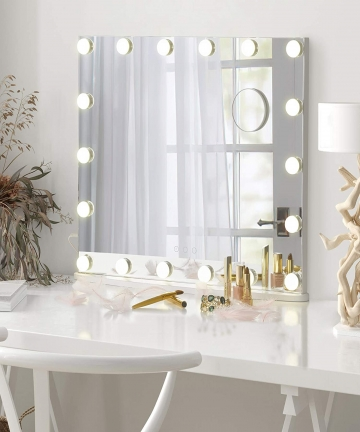 LUXFURNI-Vanity-Tabletop-Makeup-Hollywood-Mirror-Dimmable-Light-Touch-Control-18-ColdWarm-LED-Lights-Detachable-3X-Magnification