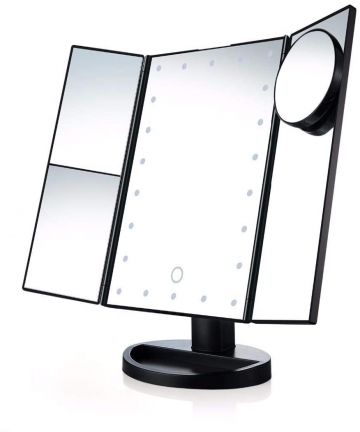 Led-Lighted-Makeup-Mirror-with-10X-Magnifying-Natural-LED-Touch-Screen-and-Auto-Off-Dual-Power-Supply-180-Degree-Adjustable-Port