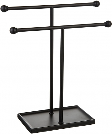 AmazonBasics-Double-T-Hand-Towel-Holder-and-Accessories-Jewelry-Stand-Black-1005573-03