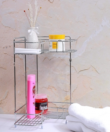 Royalford-2-Tier-Corner-Rack-Rust-Free-Stainless-Steel-Shower-Caddy-Rack-Bathroom-Organizer-Corner-Shelf-Ideal-for-Bedroom-Bathr