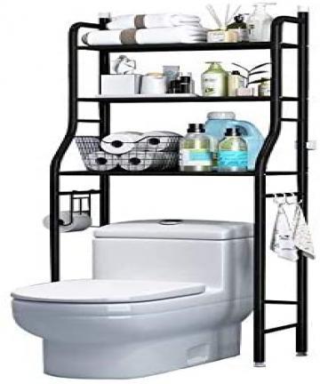 Toilet-Storage-Rack3-Tier-Over-Commode-ShelvingNo-DrillingEasy-to-AssembleHigh-CapacityVery-Sturdy-Space-Saving-Shelf-black-B08D
