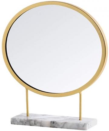 Garneck-Tabletop-Makeup-Mirror-with-Stand-Round-Shaped-Stand-Mirror-Golden-Bezel-Desk-Top-Mirror-for-Bedroom-Bathroom-Dressing-L