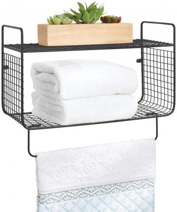 mDesign-Metal-Wire-Farmhouse-Wall-Decor-Storage-Organizer-2-Tier-Shelf-with-Towel-Bar-for-Bathroom-Laundry-Room-Kitchen-Garage-W