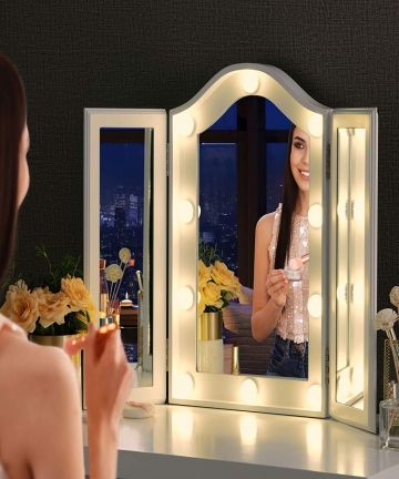 LUXFURNI-Makeup-Mirror-with-LED-Lights-Large-Hollywood-Vanity-Tri-fold-Table-Mirror-with-Touch-Screen-Dimmable-Lighted-white-B07