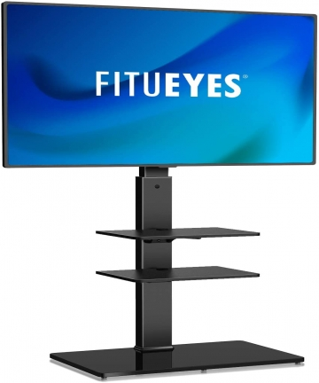 FITUEYES-Floor-TV-Stand-3-AV-Shelf-fit-32-70-inch-Swivel-60-6-Level-Height-Adjustable-with-Cable-Management-Holds-40kgs88lbs-TT3