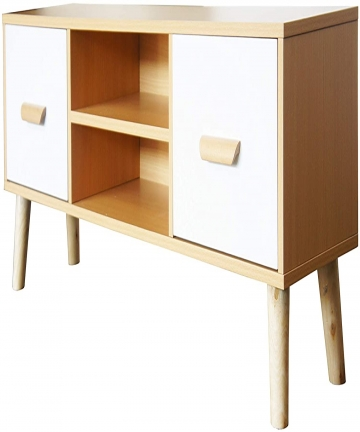 Mahmayi-H301-Modern-Multifunctional-TV-Table-Stand-Storage-Unit-with-Two-Drawers-and-Storage-Shelves-Beech-and-white-Melamine-H3