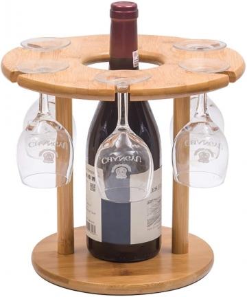 Wine-Glass-Holder-Bamboo-Wine-Bottle-Holder-Handmade-Countertop-Wine-Rack-with-6-Glass-Rack-1-Bottle-Holder-B07VGPY8LB