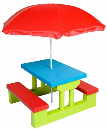 Class-Four-Seater-Kids-Picnic-Table-with-Folding-Umbrella-Garden-Yard-Children-Outdoor-Bench-Perfect-gift-for-Kids-CLDN009-Multi