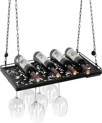Vineyard-Design-Country-Rustic-Metal-Ceiling-Mounted-Hanging-Stemware-Wine-Glass-Hanger-Organizer-Rack-Black-TB-KIT0344BLK-B015R