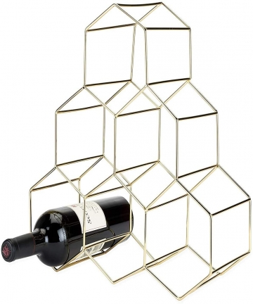 Chulovs-6-Bottles-Wine-Rack-Countertop-Free-stand-Wine-Storage-Holder-Space-Saver-Protector-for-Red-White-Wines-Gold-B084GJZDPZ