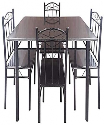 AE-Wooden-and-Steel-5-Piece-Dining-Set-Mahogany-B07P83RS3Z