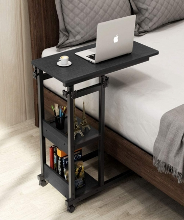 Vordern-Snack-Side-Table-Mobile-End-Table-Height-Adjustable-Bedside-Table-Laptop-Rolling-Cart-C-Shaped-TV-Tray-with-Storage-Shel
