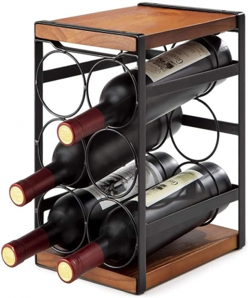 Wine-RackU-HOOME-Rustic-Wood-Wine-Holder-Freestanding-6-Bottles-Organizer-Holder-Stand-Countertop-Liquor-Storage-Shelf-Solid-Woo