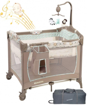 Baby-bedBaby-CribBaby-PlayardCot-PortableBaby-Nursery-CenterTravel-Playpen-Foldable-Double-layer-design-with-Music-Whirling-Toys