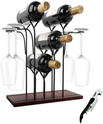 WILLPOWER-Wine-Rack-Countertop-Hold-4-Bottles-and-4-Glasses-Wine-Holder-Storage-Stand-Rustic-Wood-Wine-Display-Shelves-for-Decor