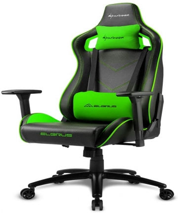 Sharkoon-Elbrus-2-Gaming-Chair-Seat-Durable-upto-150-Kgs-Black-Green-4044951027