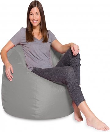 Comfy-sdfds-PVC-Leather-Large-PVC-Bean-Bag-Grey-H42-x-W42-x-D28-cm-sdfds