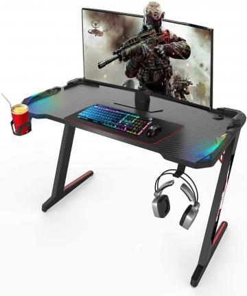 Vordern-Gaming-DeskPremium-Home-Office-PC-Computer-Table-for-Gamer-Pro-Black-Gaming-Desks-Workstation-with-RGB-LED-LightsCup-Hol