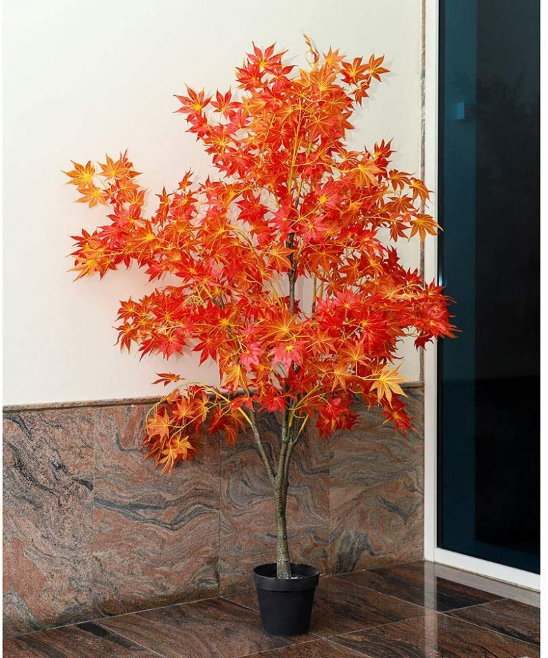 YATAI-Nearly-Natural-Artificial-Maple-Leaves-Plant-22-Meters-High-Artificial-Maple-Tree-Fake-Plant-with-Plastic-Pot-for-Home-Gar