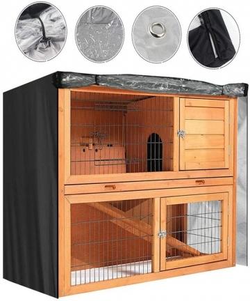 Rabbit-Hutch-Cover-Rabbit-Cage-Dust-proof-Pet-House-Rainproof-Oxford-Cloth-Universal-Rectangular-Furniture-Covers-Color-Black-B0