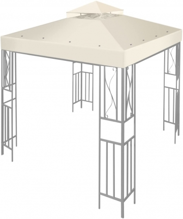 Ivory-Flexzion-24mx24m-Gazebo-Top-Canopy-Replacement-Cover-Ivory-Dual-Tier-with-Plain-Edge-Polyester-UV30-Protection-Waterpr-B01