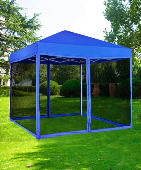 Supreme Camping Outdoor Patio Garden Pop Up Gazebo with Mosquito Net - Blue