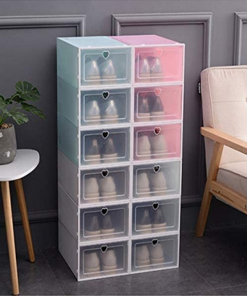 SUPERZN-Stackable-Storage-Shoe-Box-Closet-Storage-Organizer-Transparent-Home-Container-Drawer-6Pcs-3-in-White-and-3-in-Pink-B07S