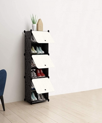 DAYONG-DIY-Portable-Shoe-Rack-Organizer-TowerModular-Cube-Storage-Shoes-Cabinet-with-White-Wood-Grain-Doors-6-Cubes-B089FBF38C