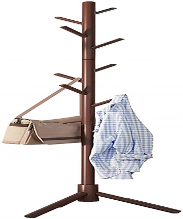 YIBOTONG-Free-Standing-Coat-Rack-8-Hooks-Wooden-Coat-Hat-Tree-Coat-Hanger-Holder-Enterway-Hall-Tree-with-Solid-Rubber-Wood-Base-
