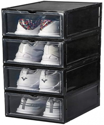 Plastic-Shoe-Box-4-Pack-Transparent-Storage-Shoes-Container-Acrylic-Sneaker-Box-Foldable-Stackable-Clear-Organizer-Display-Wall-