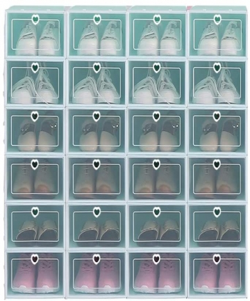 Clear-Plastic-Shoe-Storage-Transparent-Stackable-Organizer-box-Green-24PCS-B07SSY16PX