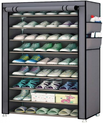 Fabric-Shoes-Rack-Cabinet-Storage-Closet-Organizer-Non-Woven-10-Tiers-Ultra-Wide-27-Pairs-Space-Grey-Portable-Dustproof-for-Hall