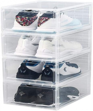 STERILITE-Stacking-Drawer-White-Frame-with-Clear-Drawer-Storage-Shoe-Box-White-B07WK1ZQTX