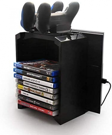 PS4-Storage-Tower-Game-Disk-Rack-Controller-Stand-Holder-with-Dual-Charger-Charging-Dock-Holds-up-to-12-Games-Disk-for-PS4-PS4-S