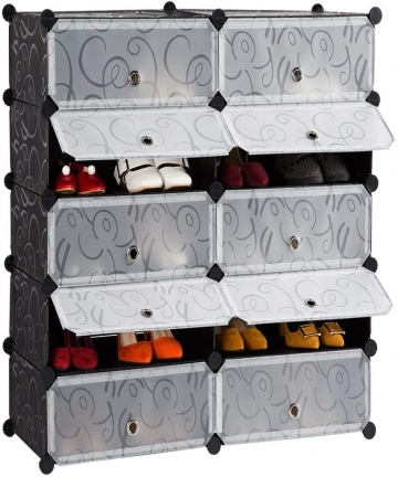 DIY-Shoe-Rack-Storage-Drawer-Unit-Multi-Use-Modular-Organizer-Plastic-Cabinet-with-Doors-Black-and-White-Curly-Pattern-10-cubes-