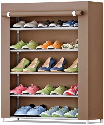 5-Tier-Shoe-Rack-15-Pairs-Shoes-Storage-Organizer-Cabinet-with-Dust-proof-Non-woven-Fabric-Cover-Coffee-B07S1DS2R2