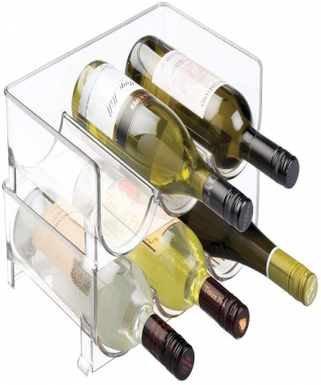mDesign-Set-of-2-Stackable-Wine-Rack-Plastic-Wine-Bottle-Rack-Horizontal-Wine-Holder-Extends-Wine-and-Cork-Life-6-Bottles-Each-C