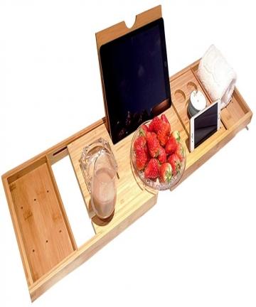 decdeal-Bathtub-Caddy-Tray-Bamboo-Spa-Bathtub-Caddy-Organizer-Book-Wine-Tablet-Holder-Reading-Rack-Nonslip-Bottom-Extendable-Sid