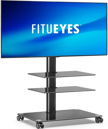 FITUEYES-Mobile-TV-Stand-3-Shelves-for-32-60-LCD-LED-Flat-Curved-Screens-Tilt-Height-Adjustable-with-Cable-Management-Display-Tr