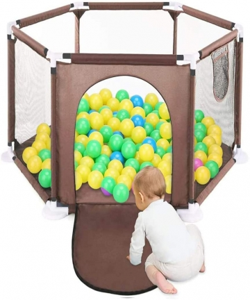 Baby-Playpen-Foldable-Playard-Baby-Kids-Play-pens-6-Panel-Kids-Activity-Center-Room-Fitted-FloorNot-Include-Ocean-Ball-coffee-B0