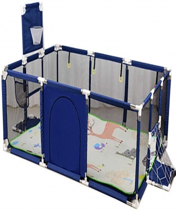 SKY-TOUCH-Large-Toddler-Babys-Playpen-for-Twin-Foldable-Safety-with-Basketball-Hoop-Extra-Tall-66cmColor-Blue-Only-bracket-witho