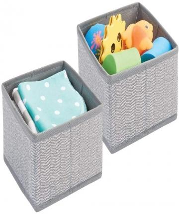 mDesign-Soft-Fabric-Dresser-DrawerCloset-Storage-Organizer-Pack-of-2-Grey-09041MDB-B07VXSB6XS