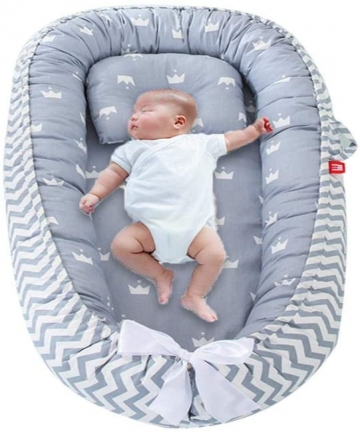 COOLBABY-Baby-Lounger-Portable-Newborn-BassinetHypoallergenic-Sleep-Crib-100-Breathable-CottonPressure-resistant-Washable-CoverS