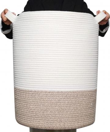 MINTWOOD-Design-XXXLarge-20-x-18-Decorative-Woven-Cotton-Rope-Basket-Tall-Laundry-BasketHamper-Blanket-Basket-for-Living-Room-St