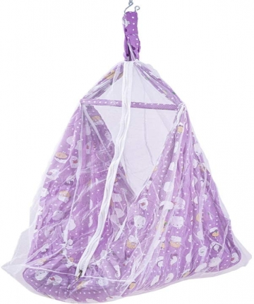 BAYBEE-Randy-Cotton-Hanging-Cradle-for-Baby-with-Net-and-Spring-Set-Violet-0-12-Months-B07RRXM37J