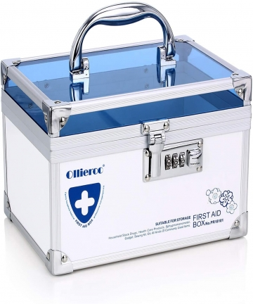Ollieroo-Combination-Lock-Box-for-Medication-Compartments-Medicine-Storage-Box-First-Aid-Box-Blue-B07D3KNF4F